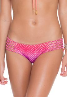 Strappy tie-dye bikini bottom, braided side straps - CALCINHA SUNSET STRAPPY