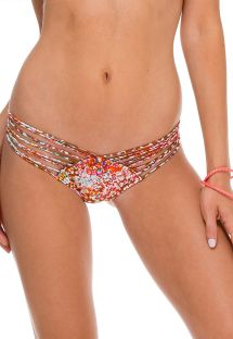 Braguita de bikini tipo scrunch con estampado animal de colores y tiras - CALCINHA UNTAMEABLE