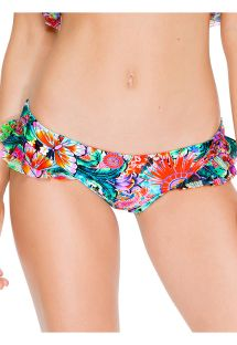 Flounced bathing suit bottom with butterfly print - CALCINHA VIVA CUBA RUFFLE