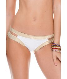 White/gold iridescent swimsuit bottom with cut-outs - CALCINHA WARRIOR WHITE