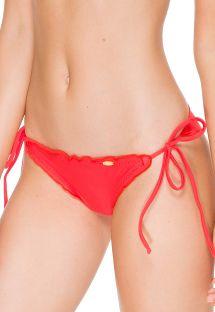 טאנגה עשויה בד מכווץ צבע אדום זוהר עם שוליים מסולסלים - CALCINHA WAVEY FIRE