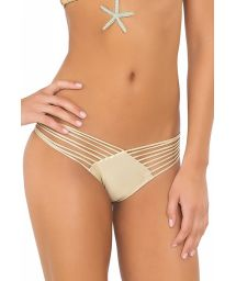 Gold-coloured scrunch swimsuit tanga with multi-straps - CALCINHA WAVEY STRAPPY GOLD