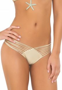 Slip brasiliano in stile scrunch, color oro - CALCINHA WAVEY STRAPPY GOLD
