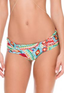 Colourful ethnic print tanga scrunch swimsuit bottom - CALCINHA WILD HEART STRAPPY
