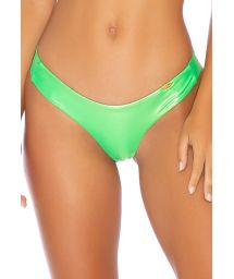 Metallic fluorescent green high-leg bikini bottom - BOTTOM HEAVY METAL RUCHED NEON LIME