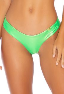 Metallic fluorescent green scrunch bikini bottom - BOTTOM HEAVY METAL WAVY NEON LIME