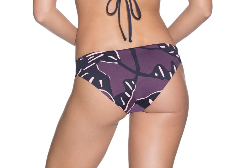 Fixed Brazilian bikini bottom featuring various plant motifs - BOTTOM CHOCO TOUCAN