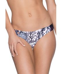 Fixed Brazilian bikini bottom featuring various plant motifs - BOTTOM CHOCO TOUCAN