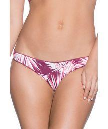 Reversible palm trees/plain burgundy fixed bikini bottom - BOTTOM JUNEBERRY FLIRT