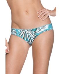 Reversible plain green palm print bikini bottoms - BOTTOM LILY PAD DIVINE