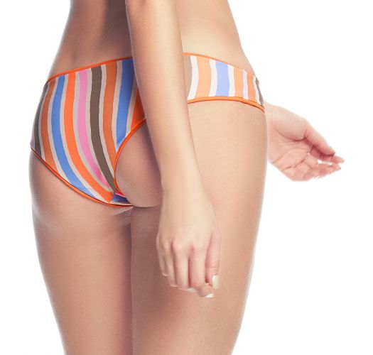 Reversible orange / colorful stripes bikini briefs - BOTTOM MANDARIN SPELL