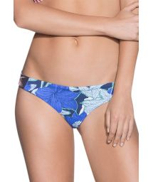 Blue fixed swimsuit thong floral/striped - BOTTOM PALOMINO SKY