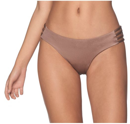 Iridescent taupe bikini bottom with side straps - BOTTOM BENEGAL SPARKLY TAUPE