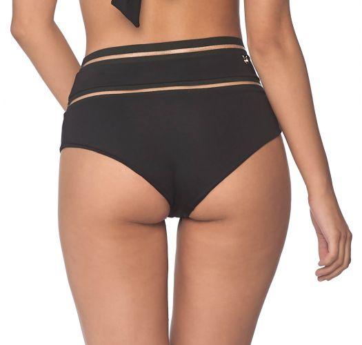High-waist black bottom with transparent details - BOTTOM LINE FREE BLACK