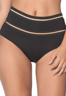 High-waist black bottom with transparent details - BOTTOM LINE FREE BLACK