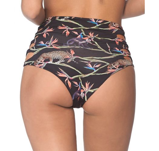 Black tropical side laced high-waisted bikini bottom - BOTTOM MARMARA AFRICAN DREAM