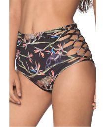 Black tropical side laced high-waisted bikini bottom - BOTTOM MARMARA AFRICAN DREAM