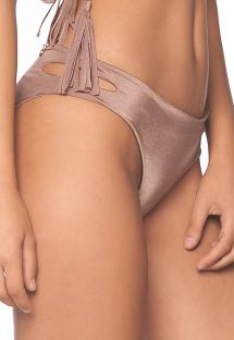 Iridescent taupe bikini bottom with side cutout - BOTTOM PACIFIC SPARKLY TAUPE