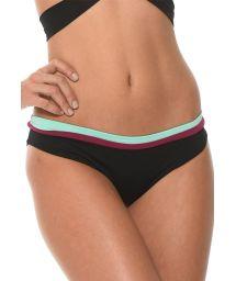 Three-colour sporty fixed bikini bottoms - CALCINHA COLOR BLOCK ONYX