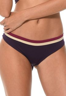 Cueca de biquíni tricolor violeta, estilo desportivo - CALCINHA COLOR BLOCK RAISIN