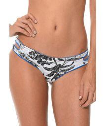 Reversible tropical-print / plain blue bikini bottoms - CALCINHA COSTA TROPICAL