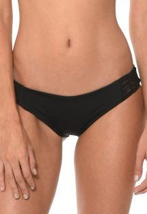 Czarne figi do bikini, wstawki makrama - CALCINHA HAPPY HATCH BLACK