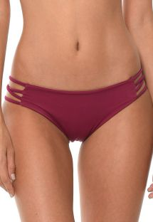 Bordowe  figi do bikini, paseczki po bokach - CALCINHA LIGHT CORDY