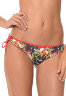Printed bikini bottoms with red side ties - CALCINHA SUMMER FRUFRU