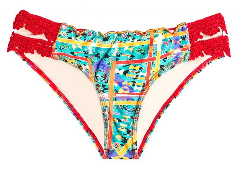 Printed scrunch bikini bottom with red crochet - BOTTOM MAR CULTURAL