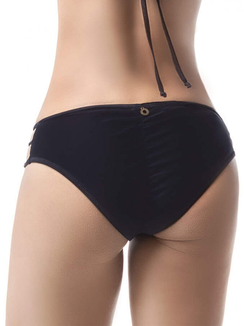 Black scrunch bikini bottom with side straps - BOTTOM MAR DE CÓNDOR