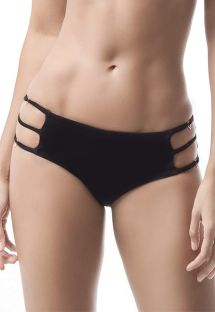 Black scrunch bikini bottom with side straps - BOTTOM MAR DE CÓNDOR