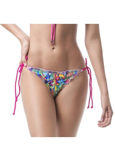 Tropical scrunch bikini bottom with twisted pink ties - BOTTOM MAR DE CRISTALES