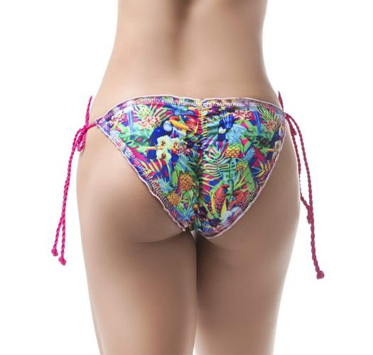Tropical scrunch bikini bottom with twisted pink ties - BOTTOM MAR DE CRISTALES