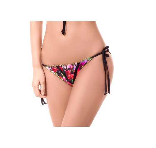 Floral scrunch bottoms with overstitching and black ties - BOTTOM MAR DE MARACAS