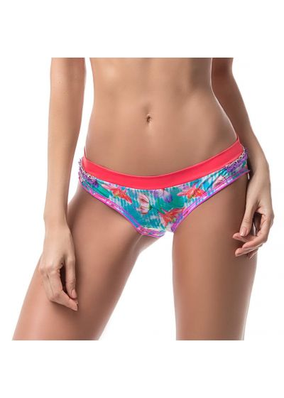 Floral bikini bottom embroidered with pearls and fringes - BOTTOM MAR DE PASIÓN