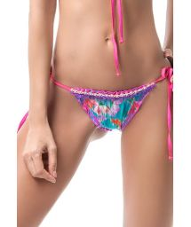 Floral scrunch bikini bottom with beads and fringe - BOTTOM MAR DE PASIÓN TRIANGLE