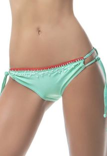 Water green scrunch bikini bottoms embroidered with pearls - BOTTOM MAR DE SIETE COLORES