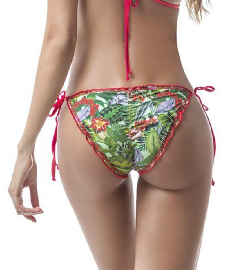 Tropical scrunch bikini bottom with red edges - BOTTOM MAR EXÓTICO
