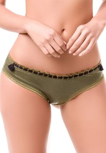 Khaki oiled-look scrunch bottoms with rope detail - BOTTOM MAR MILITAR