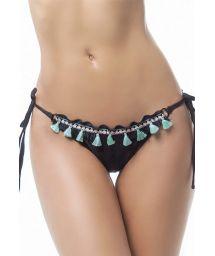 Black scrunch bikini bottom with fringed pom-poms - BOTTOM MAR NATIVO