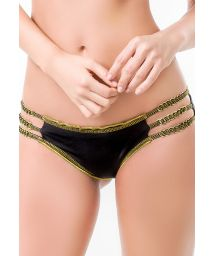 Black/gold scrunch bottoms with multi-straps - BOTTOM MAR SANTO
