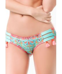 Patterned bikini bottoms with coral pompoms - BOTTOM PLAZA DEL MAR