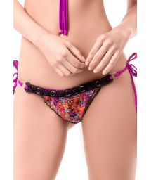 Scrunch printed bottoms with black macramé detail - BOTTOM RITMO DEL MAR