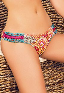 Multicoloured scrunch bottoms with  macramé - CALCINHA MAR DE SIAM