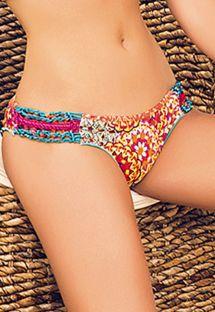 Farvestrålende scrunch bikinitrusse med macrame-pynt - CALCINHA MAR DE SIAM