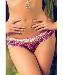 Pink swimming bottoms with lace and beads - CALCINHA MAR ORGANICO