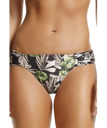Black floral bikini bottom pleated sides - BOTTOM DOLLY NATURE