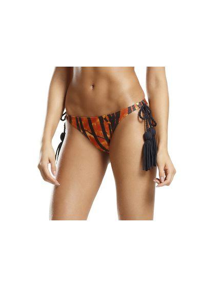 Orange och svart bikininederdel med tofsar - BOTTOM FRILLS LINHAS DE BESOURO