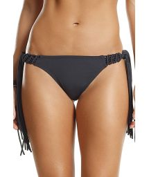 Black bikini bottom with macramé and fringe details - BOTTOM NIGHT POWER NATURE