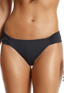 Black bikini bottom pleated sides - BOTTOM PRETTY LISOS